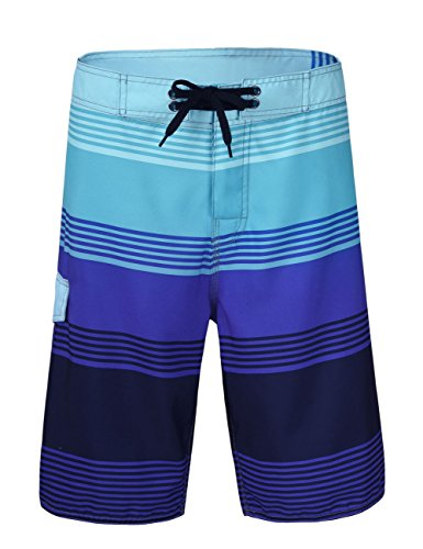 Unitop Men's Water Beach Board Shorts Summer Holiday Striped Swim Trunks Quick Dry Blue Striped 30