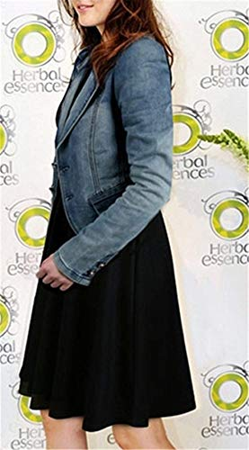 Haidean Eleganti Giacca Lunghe Maniche Semplice Glamorous Denim Fidanzato Taglie Donna Jacket Blu Stile Jeans Relaxed Bavero Outwear Casual Forti Autunno rqIY5rw0