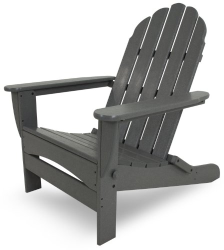 POLYWOOD AD7030GY Classic Oversized Curve Back Adirondack Chair, Slate Grey