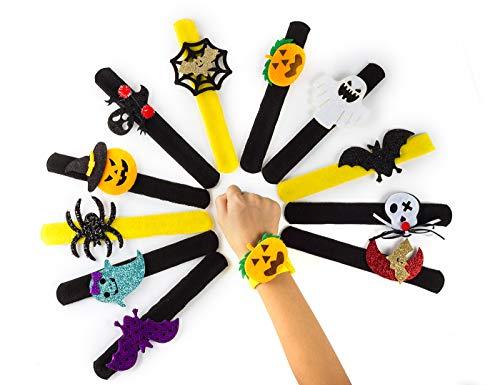 12 pcs Assorted Spider Pumpkin Slap Bracelets Halloween Snap Slip Wristband Band for Happy Halloween Wrist Decoration party favors for kids