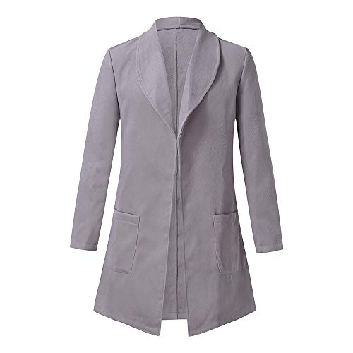 (Toimothcn Mens Solid Slim Fit Open Trench Coat Jacket Long Sleeve Lapel Pea Coat (Gray,L))