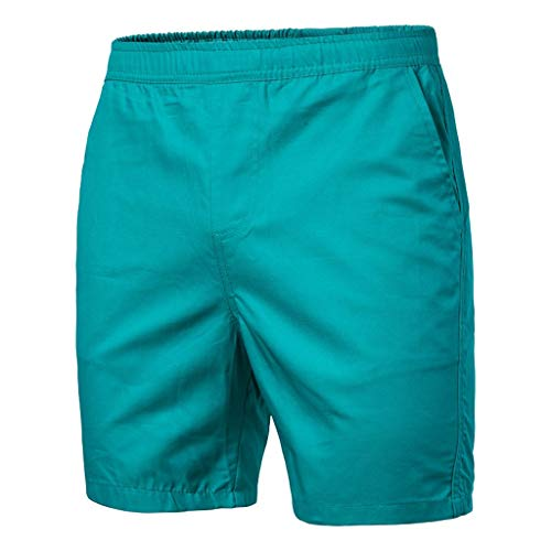 (LUCAMORE Men's Board Shorts Casual Solid Beach Men Short Trouser Shorts Pants with Pockets Sky)