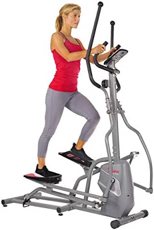 Sunny Health & Fitness Magnetic Elliptical Trainer Machine w/Tablet Holder, LCD Monitor, 220 LB Max Weight and Pulse Monitor - SF-E3810