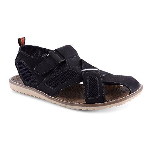 Footwear Sensation - Sandalias de vestir de cuero para hombre negro - Black Criss Cross Strap Sandal