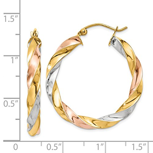 ICE CARATS 14k Tri Color Yellow White Gold Twisted Hoop Earrings Ear Hoops Set Fine Jewelry Ideal Mothers Day Gifts For Mom Women Gift Set From Heart by ICE CARATS (Image #4)