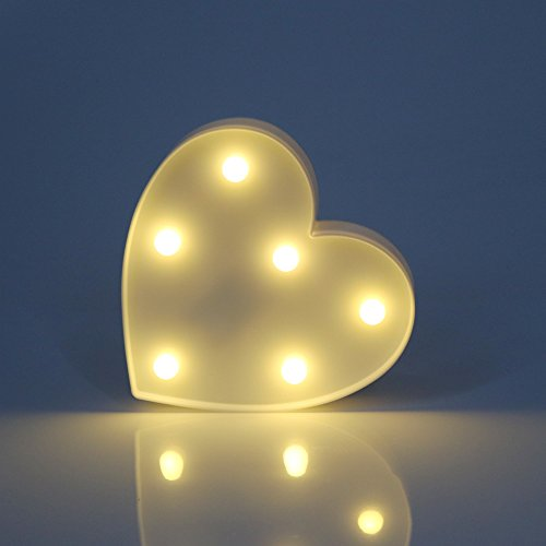 DELICORE Battery Operated Marquee LED Lighted Heart Sign - Heart Shaped Love Sign with 6 warm white LEDS - Valentines Gift