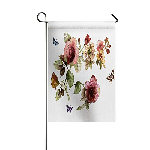 LIDU Shabby Chic Garden Flags House Banner Decorative Flags Home Outdoor Valentine, Flowers Floral Design with Buds and Butterflies Art, Welcome Holiday Yard Flags, Double Sides 28 x -