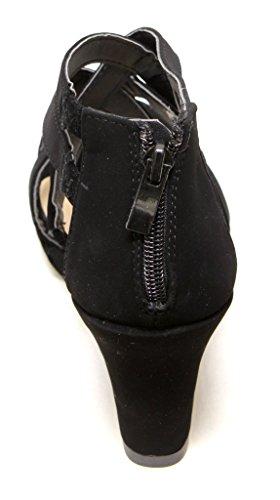 Forever Tunas-74 Womens Platform Wedge Crossing Straps Upper Rear Zip Closure Sandals Black zcjDIn