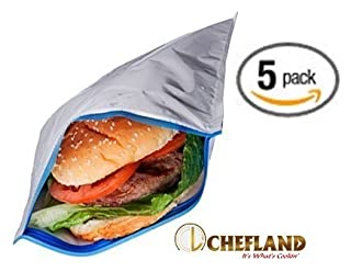 Insulated Resealable Sandwich Bag / Reusable Thermal Lunch Snack Bento Picnic Pouch, 5 Count (B00LRY8OVA) | Amazon price tracker / tracking, Amazon price history charts, Amazon price watches, Amazon price drop alerts