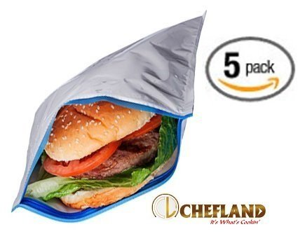 Insulated Resealable Sandwich Bag / Reusable Thermal Lunch Snack Bento Picnic Pouch, 5 Count