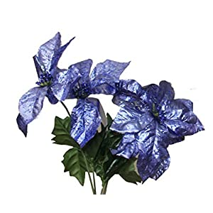 Set of 2 14″ Sparkling Christmas Bush with Artificial 6″ Poinsettia Flowers (Dark Blue)