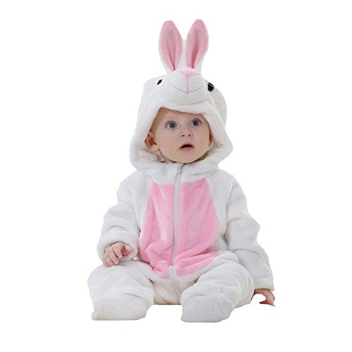 Fairy Baby Unisex Baby Onesie Costume Animal Flannel Pajama Homewear,18-24M,White (White Rabbit Hood)