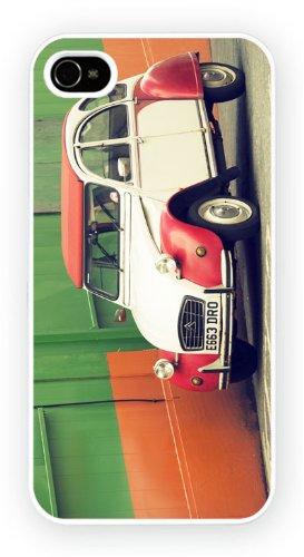 Citroen 2CV White Red, iPhone 4 4S, Etui de téléphone mobile - encre brillant impression