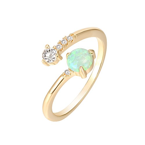 PAVOI 14K Yellow Gold Plated Adjustable Created Green Opal Rings | Stacking Rings | Gold Rings for Women ()
