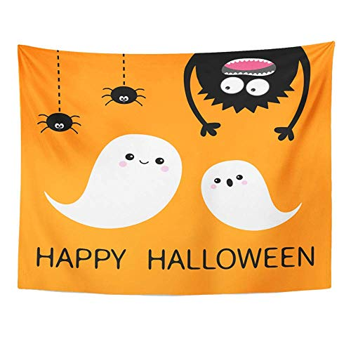 Remain Unique Tapestry Happy Halloween Two Flying Ghost Spirit Monster Head Silhouette Eyes Hands Wall Hang Decor Indoor House Made in Soft ()