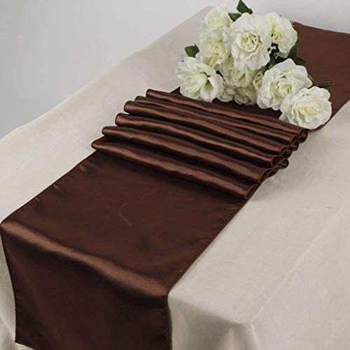 (OWS Pack of 10 Wedding 12 x 108 inch Satin Table Runner Wedding Banquet Decoration-Coffee/Brown/Choclate)
