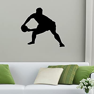 Rugby Wall Decal Sticker 7 - Decal Stickers and Mural for Kids Boys Girls Room and Bedroom. Sport Wall Art for Home Decor and Decoration Ð Rugby Football Silhouette Mural