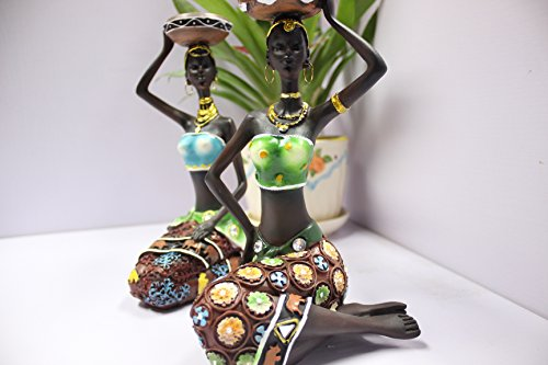 TBW African Figure Candles Holder Tribal Lady Figurine Statue Decor Collectible Art Piece, 8.6-Inch, Pack of 2
