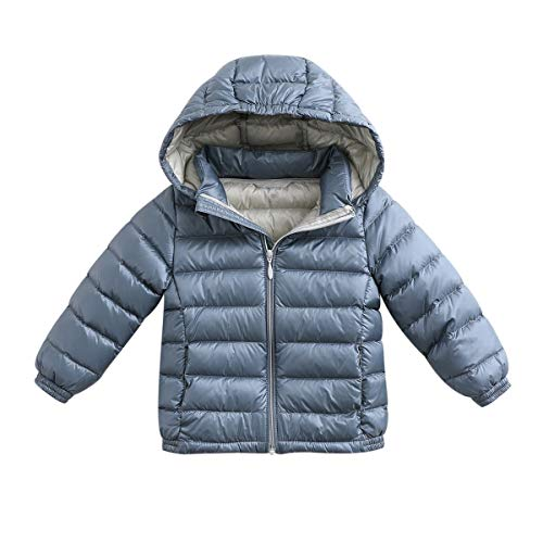 marc janie Girls Boys' Light Weight Down Jacket Packable Removable Hooded Down Puffer Coat, 36+ Colors 3 Years Iron Gray Blue