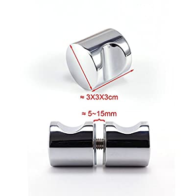 2x back to back Cylinder Shower Door Handle Pull Knobs Chrome Stainless Steel