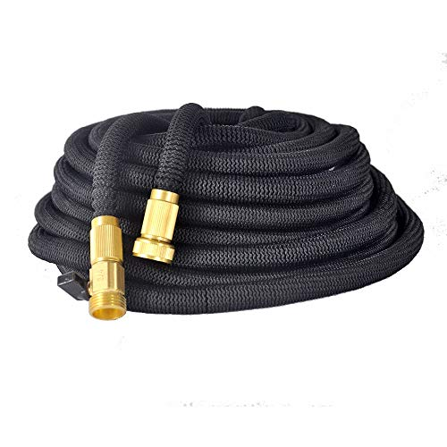 Hosiers' Supply- 50 ft Garden Hose-Expandable with on/Off Valve-Kink Free- Extra Durable with Triple Layer Outer Webbing-Solid Brass Fittings