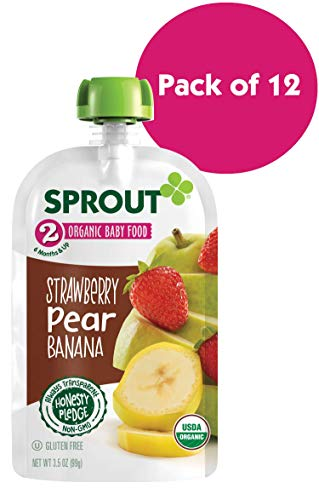 Sprout Organic Stage 2 Baby Food Pouches, Strawberry Pear Banana, 3.5 Ounce (Pack of 12) - Strawberry Foods