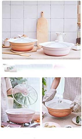 Casserole à soupe orange 24 cm avec couvercle en argile domestique pour cuisson à gaz épaississant (taille : 23,9 cm de long x 8,9 cm de haut)
