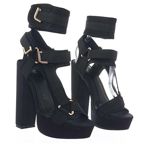Liliana Women Strappy Elastane Harness Chunky Platform Heel Glamrock (8.5, Black)