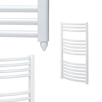 Calefactor eléctrico con resistencia calefactora, Radiador-calentador de toallas, radiador ligeramente curvado. Bray Blanco y Cromo 800 x 500 Weiß: ...