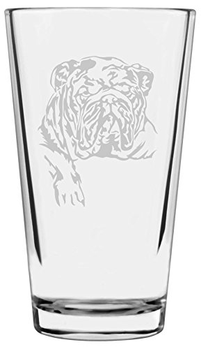 (Bulldog Dog Themed Etched All Purpose 16oz Libbey Pint Glass)