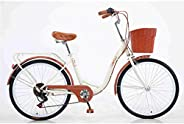 YUEBM 7-Speed Lightweight Bicycles for Adult Men and Women Commuting Office Workers Student Bicycles Comfort B
