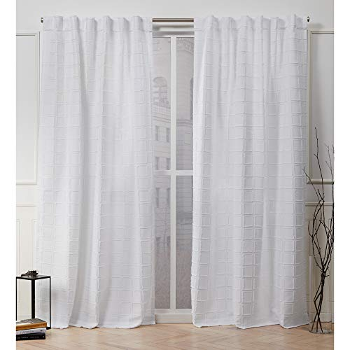 Nicole Miller Helix Hidden Tab Top Curtain Panel, White, 54x96, 2 Piece