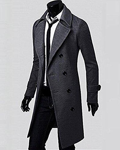 Homme Manteau Fit Slim Pardessus Double Breasted Veste Longue Parka Trench-Coat