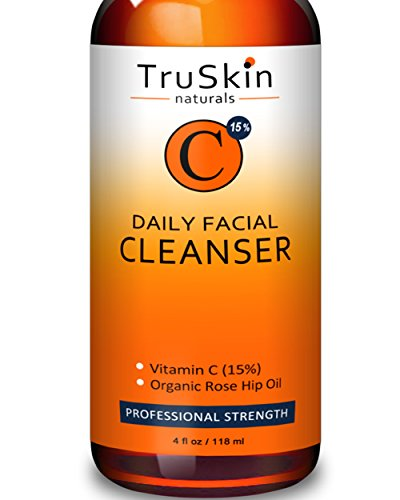BEST Vitamin C Daily Facial Cleanser - Restorative Anti-Aging Face Wash for All Skin Types with 15% Vitamin C, Aloe Vera, MSM & Rosehip (Advanced Acne Pads)