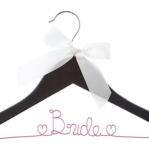 Bride Wedding Dress Hanger, Bridal Gown Hangers with Hearts (Black with Hot Pink Wire)