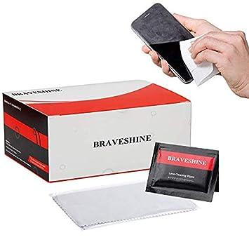 braveshine prehumedecidas lente soporte para gafas, diseño de pantalla de cristal de limpieza toallitas limpiador sin rayas residue-100 Count ...