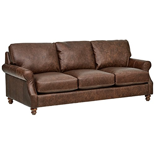 - Stone & Beam Charles Classic Oversized Leather Sofa, 92