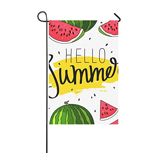 WIEDLKL Home Decorative Outdoor Double Sided Hello Summer Inscription On Watermelon Garden Flag House Yard Flag Garden Yard Decorations Seasonal Welcome Outdoor Flag 12x18in Spring Summer Gift