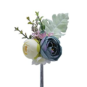 MOJUN Tea Rose Blossom Boutonniere Brooch for Suit Wedding Groom Groomsmen Brooch Rose Boutonniere, Pack of 3, Blue 65