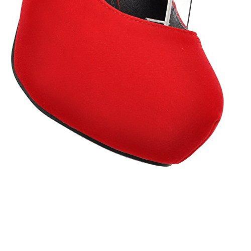 AllhqFashion Mujeres Hebilla Puntera Redonda Tacón ancho Plataforma Sólido De salón Rojo