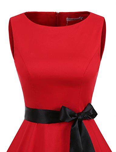 Up Pin Mangas Cóctel Sin Retro Red Gardenwed Vestidos Mujer Fiesta qax68vFw
