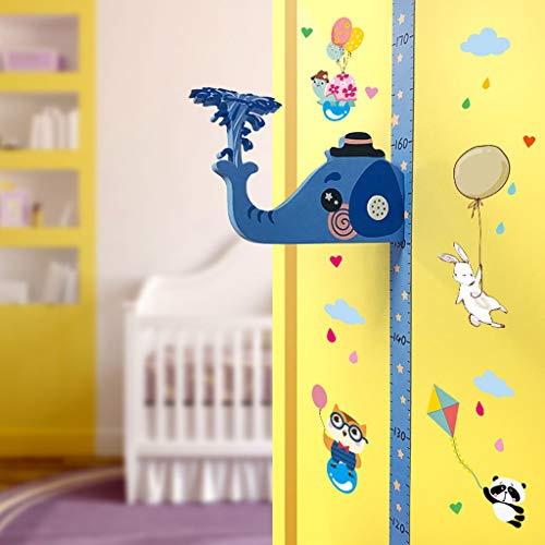 Pstars Removable Children 3D Height Chart Measure Wall Sticker Decal for Kids Baby Room Wall Growth Chart, Height Measurement, Scale, Ruler for Kids ()