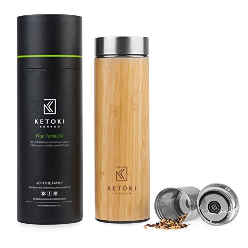 (Premium Bamboo Tumbler with Tea Infuser & Strainer by Ketoki Bamboo - Eco Friendly Reusable BPA Free 17oz Vacuum Insulated Stainless Steel Water Bottle & Coffee Travel Mug   Best Gifts Idea)