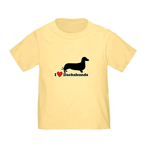 - CafePress I Love Dachshunds Cute Toddler T-Shirt, 100% Cotton Daffodil Yellow