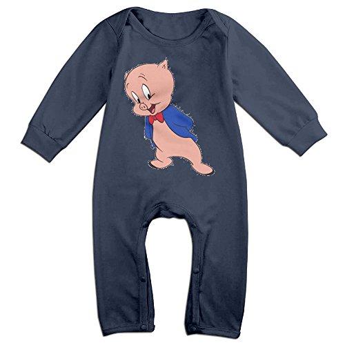 Cotton Baby Child Long Sleeve Onesies Toddler Bodysuit Navy Porky Pig Looney Tunes Onesies