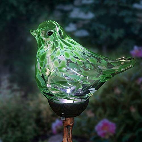 Exhart Solar Green Hand-Blown Glass Bird Yard Stakes -Bird Garden Stake w/Solar LED Lights in Spiral Bronze Finial Design - Bird Metal Stakes, Bird Decor, Garden Art Bird Ornaments, 7