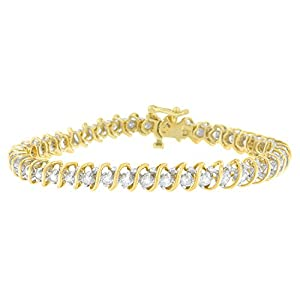 18KT Yellow Gold Round Cut Diamond Tennis Bracelet (3.00 cttw, I-J Color, I1-I2 Clarity)