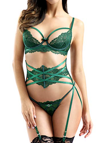 Women Sexy Lace Lingerie Set,Push Up Bra and G-String Corset with Garter Belt 3 Piece Teddy Bustier Lingerie Set Green 36DD ()