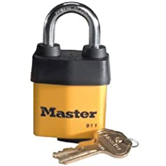 Master Lock 911DPF covered laminated steel pin tumbler padlock 2-1/8-inch (54mm) wide body. Designed to meet the needs of contractors and small businesses. Weatherproof cover and keyway protection. Hardened boron alloy shackle for maximum cut...