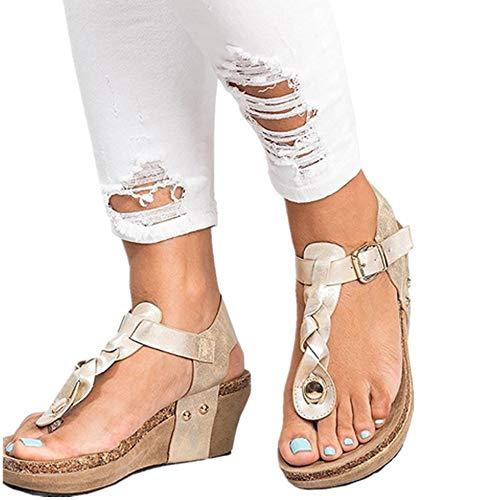 Chaussure Femme Flip 43 Flop Été 35 Ouvert Legere Chic Marron Cuir Plateforme Plage Compensées Espadrilles Romaines Beige Noir Sandales Bout Bohême Dames awvq5Px1